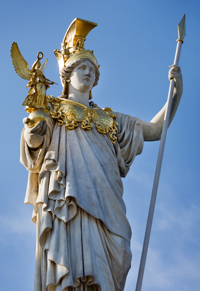 Statue of Pallas Athene Parlament. Vienna, Austria