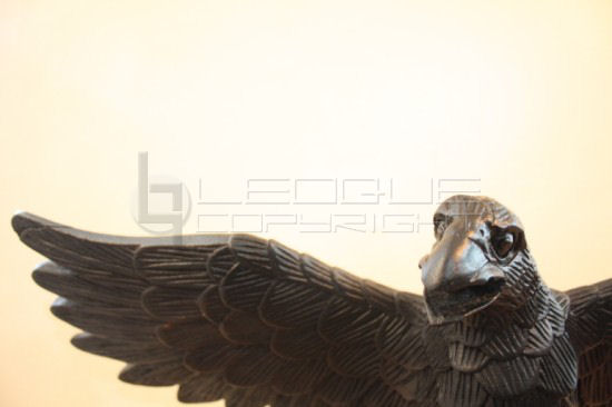 wood eagle on wooden stand app 24 inches in wingspan carved from old ...