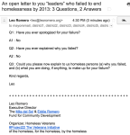 """An open letter to you """"leaders"""" who failed to end homelessness by 2013: 3 Questions, 2 Answer"""