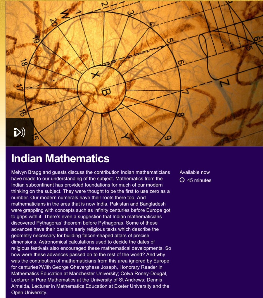 bbc in our time colva roney-dougal indian mathematics