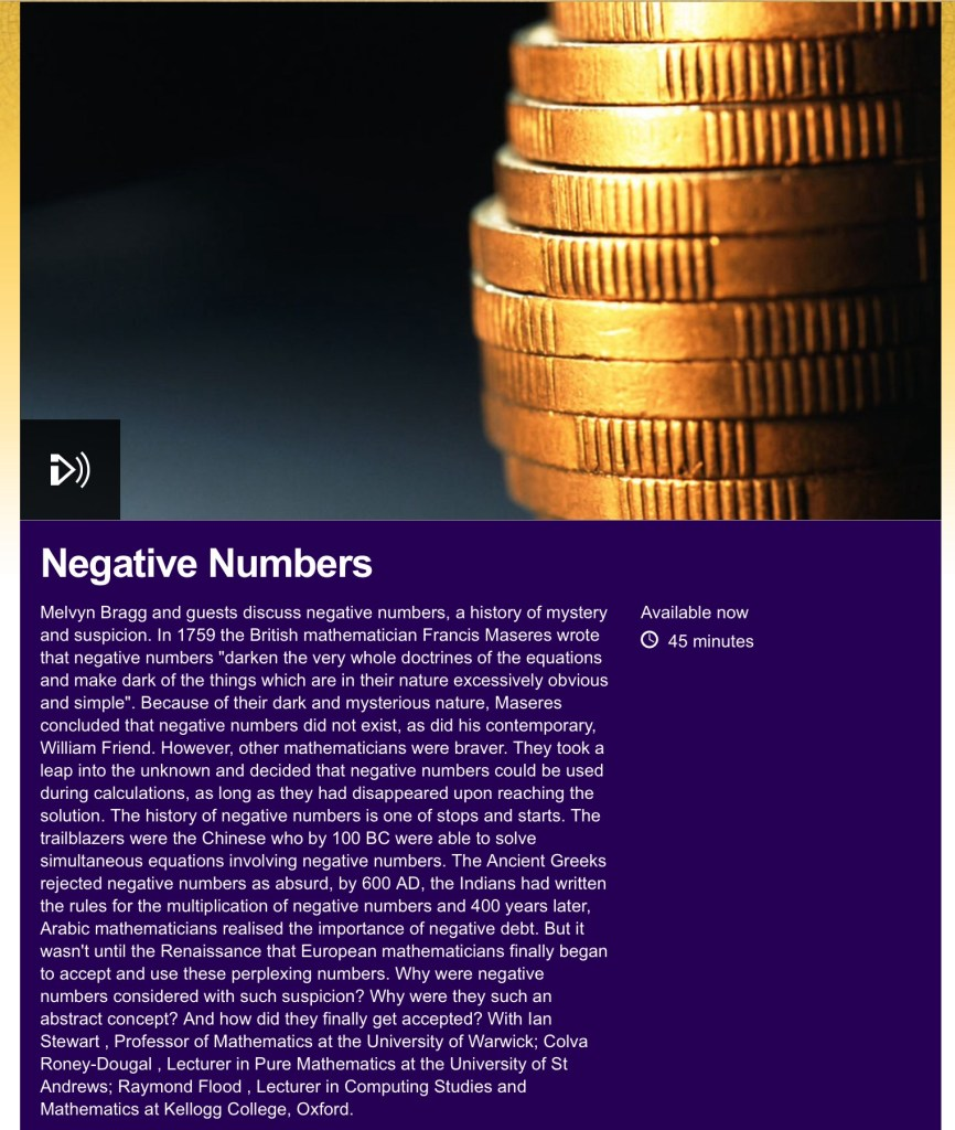 bbc in our time colva roney-dougal negative numbers