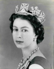 Oct. 10, 1957 - H.M. Queen Elizabeth II; Her Majesty's jewels are diamond and pearl earrings, necklace and diadem; on her shoulder is the sash of the order of the Garter. (Credit Image: © Keystone Press Agency/Keystone USA via ZUMAPRESS.com)