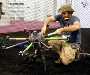 Ryan McMaster, of Volant Productions, wrangles a tricked-ot drone at NAB