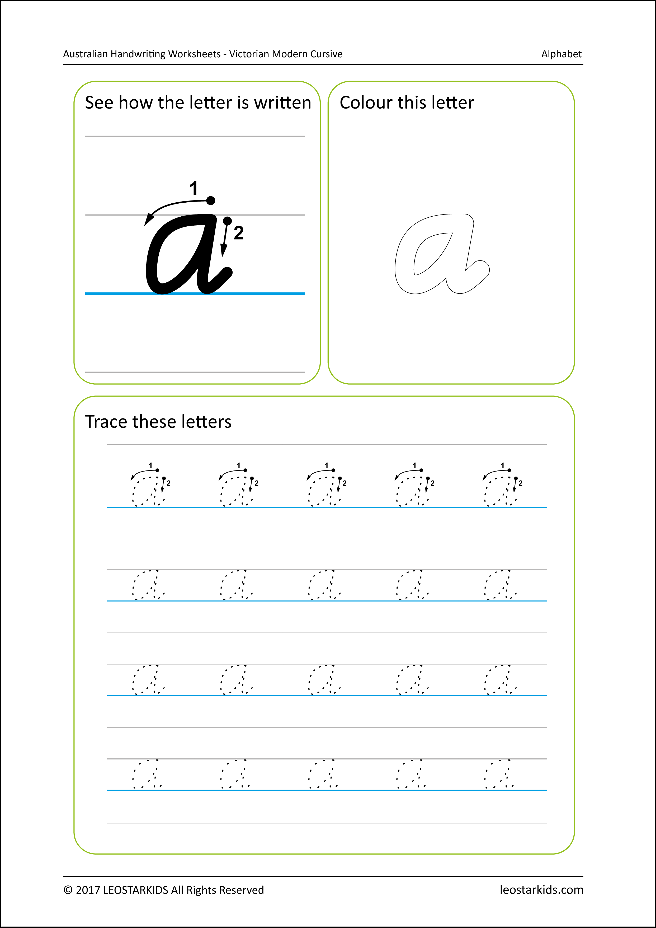 Australian Handwriting Worksheets