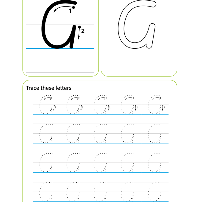 Victorian Modern Cursive Handwriting Worksheet - Letter G Uppercase