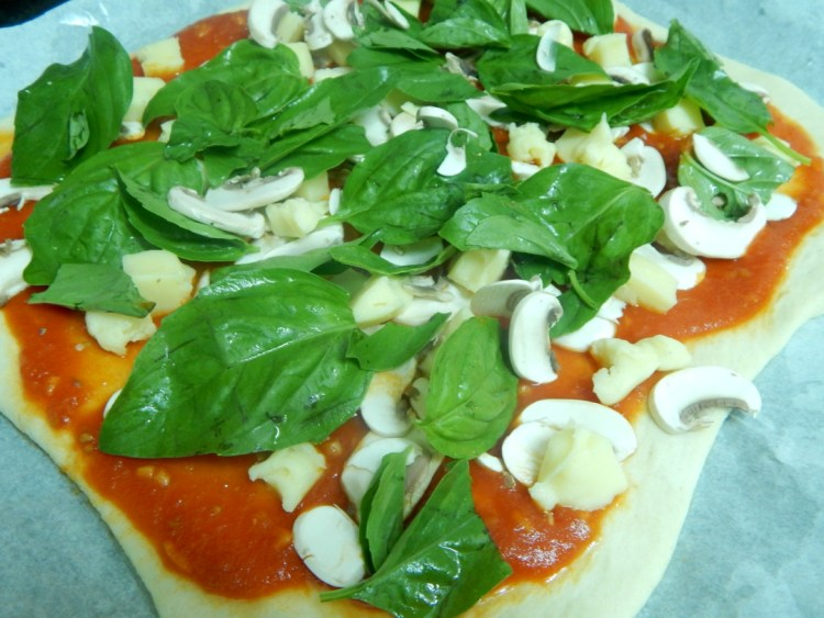 Mushroom, basil and mozzarella