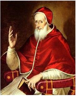 São Pio V antevendo a batalha de Lepanto. Antes de ser Papa ele foi inquisidor-mor na Itália.