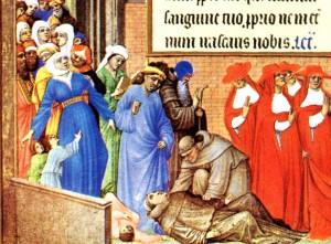 São Miguel atende as súplicas do Papa São Gregório Magno, detalhe