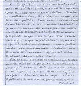 Facsimile do diário espiritual da irmã Lúcia, onde ela narra a aparição de 1944.
