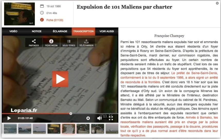 Expulsion de 101 Maliens par charter. Archives INA - JT d'Antenne 2, 19 octobre 1986