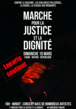 Affiche Marche 19 mars Leparia soutient