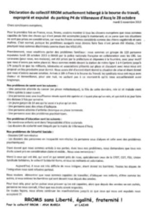 Tract collectif Rrom bourse du travail 2013 Leparia