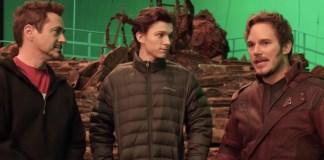 Avengers: Infinity War: Robert Downey Jr. (kiri), Tom Holland (tengah), Chris Pratt (kanan).