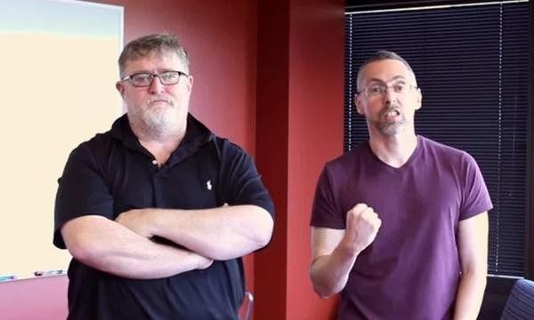 Erik Wolpaw bersama pendiri valve, Gabe Newell
