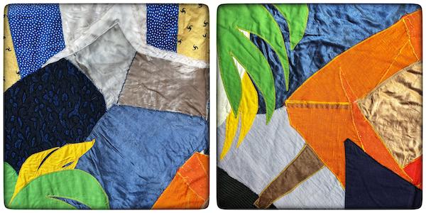 Détails de choix des couleurs de couture d'une tapisserie