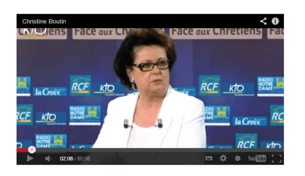 Christine Boutin sur KTO à propos du mariage gay : «ce texte met à mal les Droits de l'Homme»