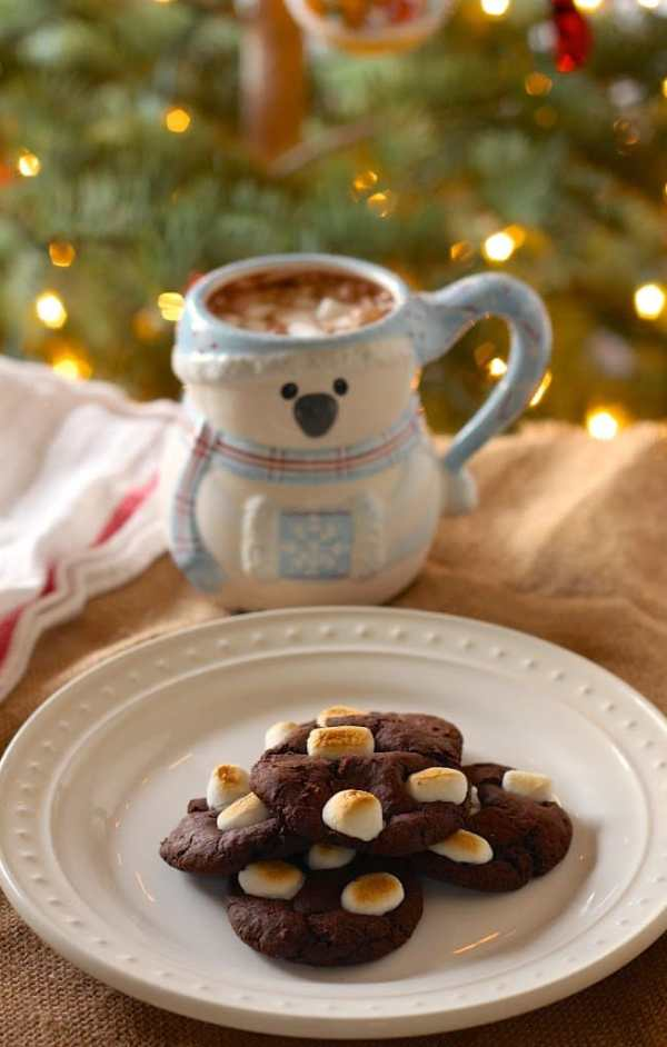 a plate of vegan chocolate crinkle cookies with mini marshmallows and a mug of hot chocolate