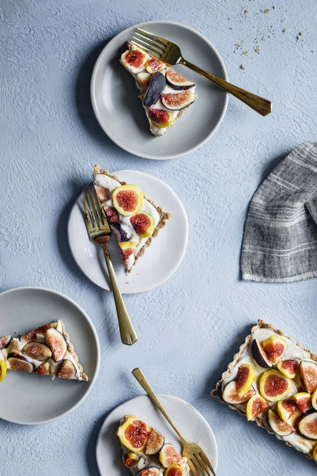 several slices of easy gluten-free and dairy-free fig tart served on small white plates