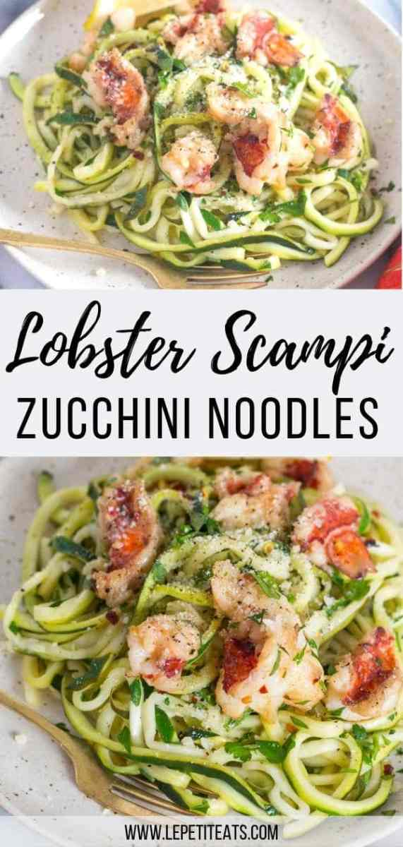 Zucchini Noodle Lobster Scampi | Lobster Scampi with a white wine butter sauce and Parmesan cheese served over healthy zucchini noodles is such a low-carb meal to enjoy for lunch or dinner any day of the week. #dinner, #lowcarb,
