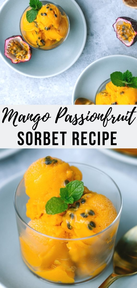 This Mango Sorbet recipe with fresh passion fruit is tropical, tangy and light- the most refreshing vegan summer treat that couldn't be easier to prepare! #dairyfree #dessert