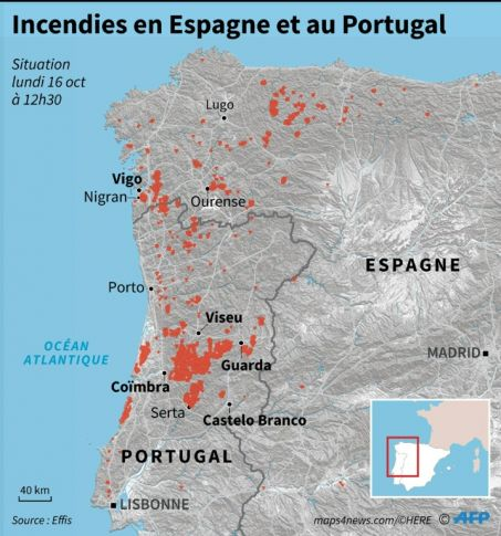 Le Portugal également touché par les incendies