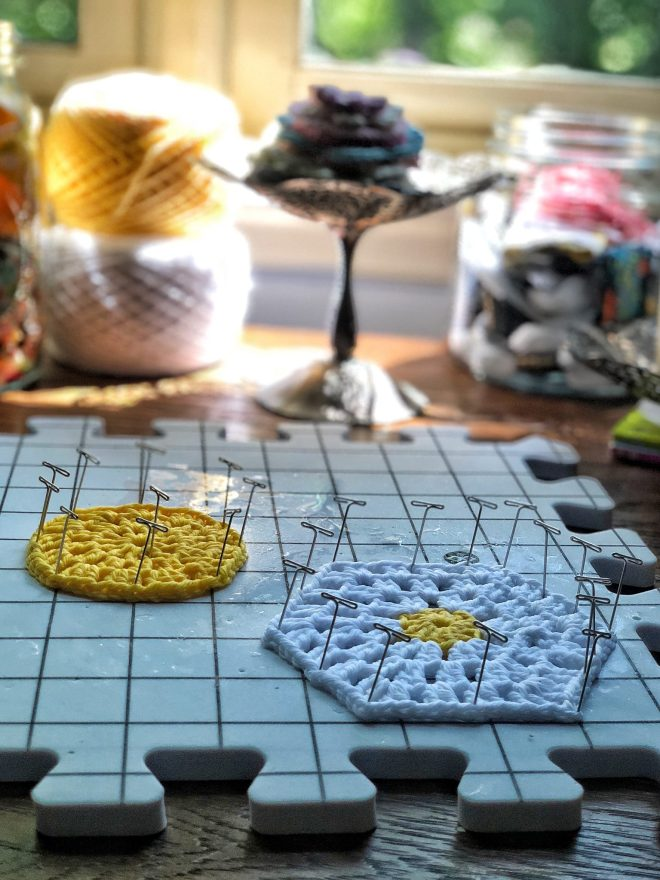 Blocking mats and samples for the Certified Crochet Instructor course.