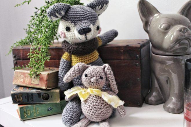 Wolf and Bunny Amigurumi Animals