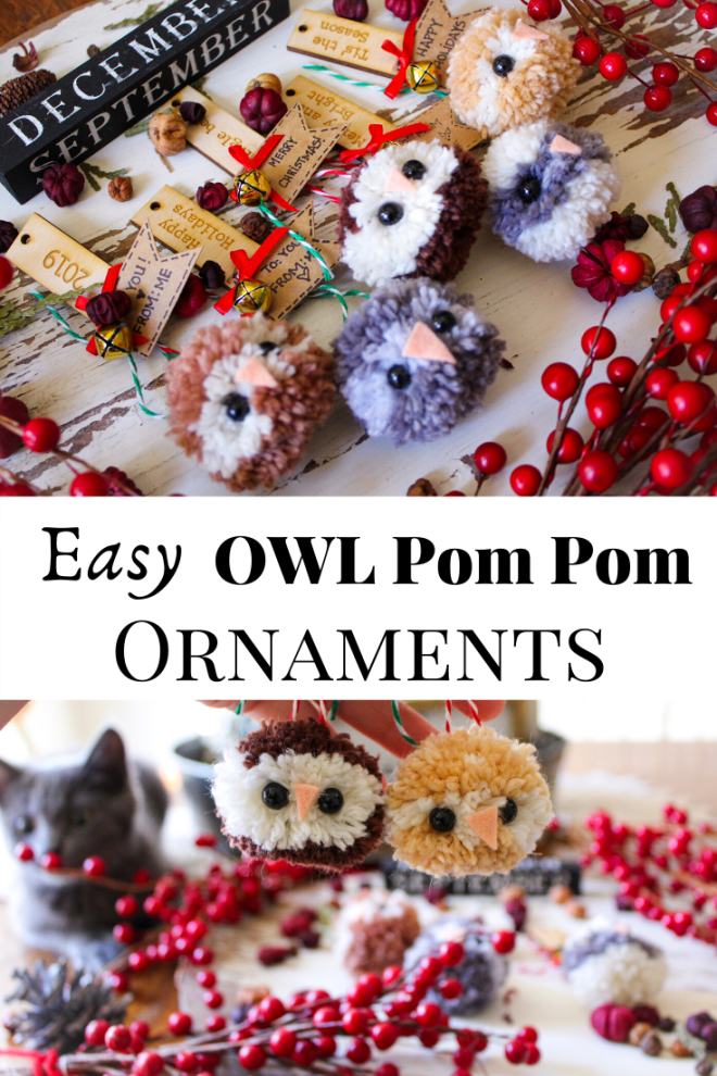Easy Owl Pom Pom Ornaments