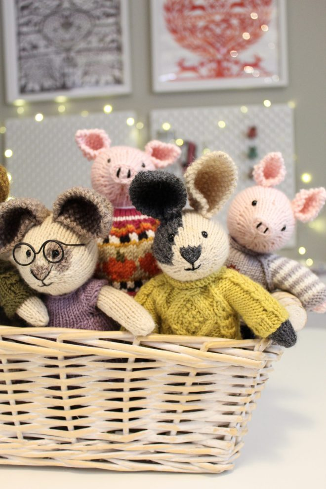 Craft room makeover - after shot of bunnies in a basket.