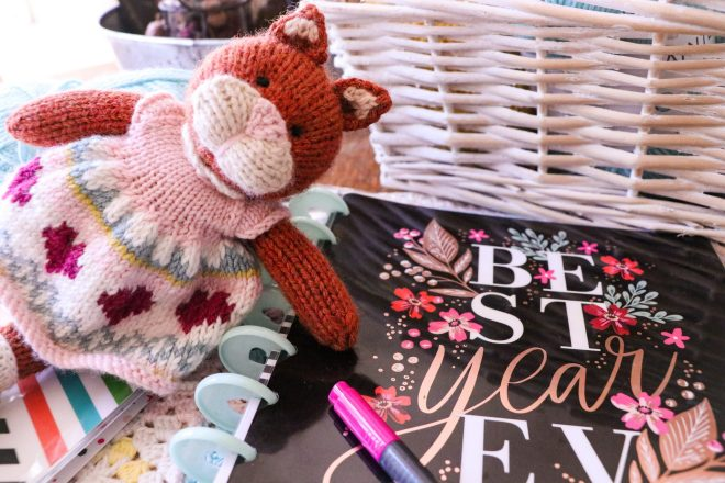 The Happy Planner and knitted kitten in pink and white dress.