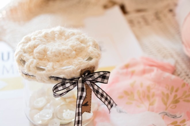 Crochet button jar cover
