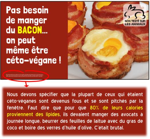 diète cétogène bacon végane