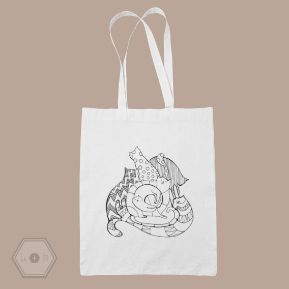 tote bag chat spirale