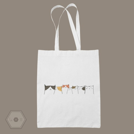 Tote bag chat famille