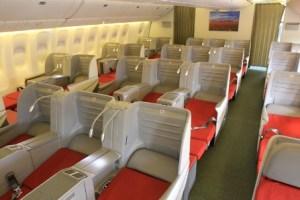 Ici, le modèles des nouveaux sièges de la Classe Affaires d'Ethiopian Airlines.