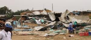 Vue des dégâts après le passage des bulldozers.