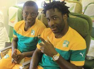 Max Gradell et Wilfried Bony,confortablement installés à bord de l'avion de Ethiopian Airlines Ph.Dr
