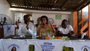 De gauche à droite: Nassehi Arthur (maître d'éducation permanente à l'Injs), Mme Clarisse Plégnon et Me Takoré Guizo Emmanuel (avocat international)