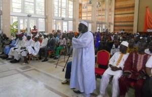 El Hadj Diomandé Moussa a, au nom des anciens, exhorté à la cohésion et l'entente des des fils et filles du Woroba. (Ph: Le Point Sur)