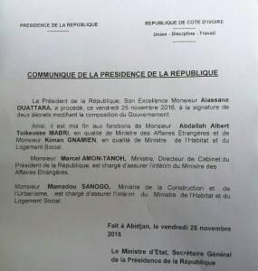 Voici le communiqué qui met fin aux fonctions ministérielles de Mabri et Gnamien.