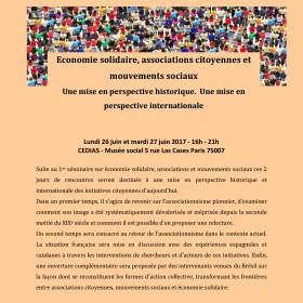 Économie Solidaire, Associations Citoyennes et Mouvements Sociaux. Une mise en perspective historique et internationale. 26/27 juin.