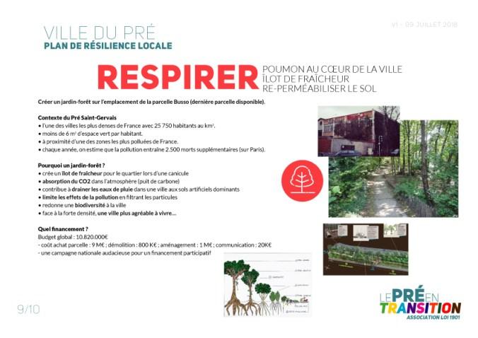 Ville du Pré Plan de Résilience locale - Respirer