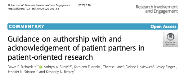 Acknowledgement of patient partners in patient-oriented research