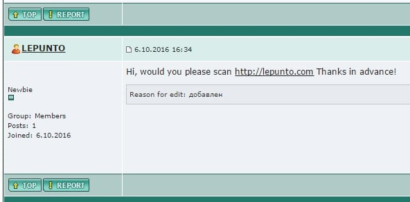 Sceenshot of our post to Kaspersky Lab Forum