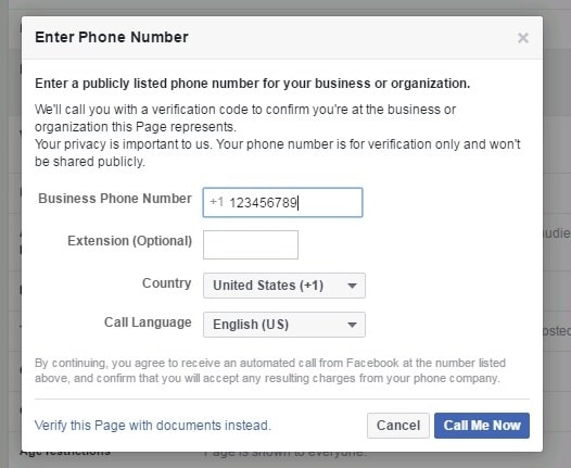 Verify Facebook page with a phone number