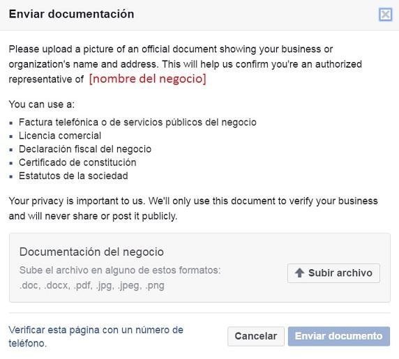 Verificar página Facebook de la empresa con documentos