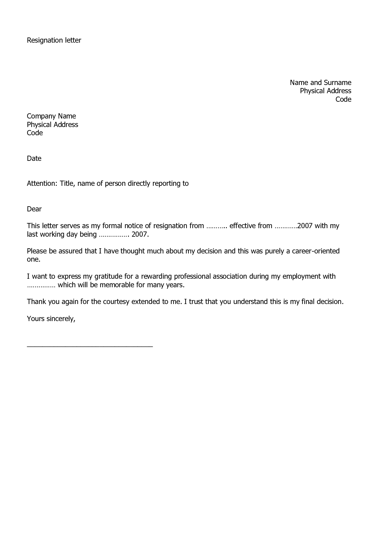 sample resignation notice 11 good resignation letter samples – Samples of Resignation Letters with Regret