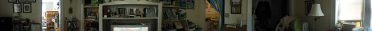 360 degree panorama of my messy living room