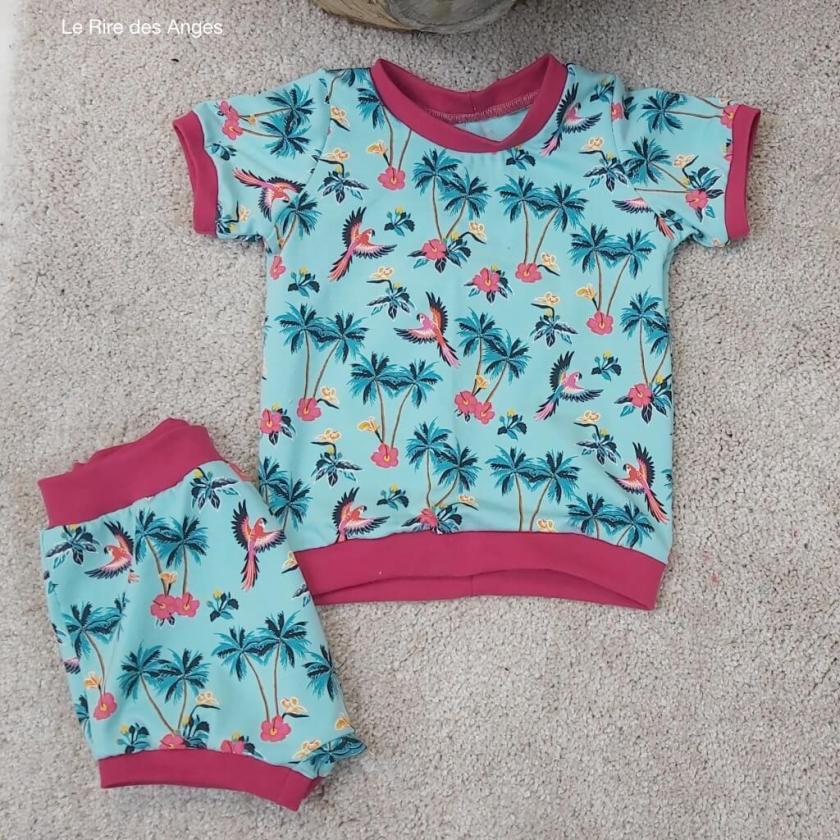 short tshirt perroquet