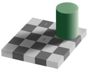 Welches Feld ist dunkler? A oder B?